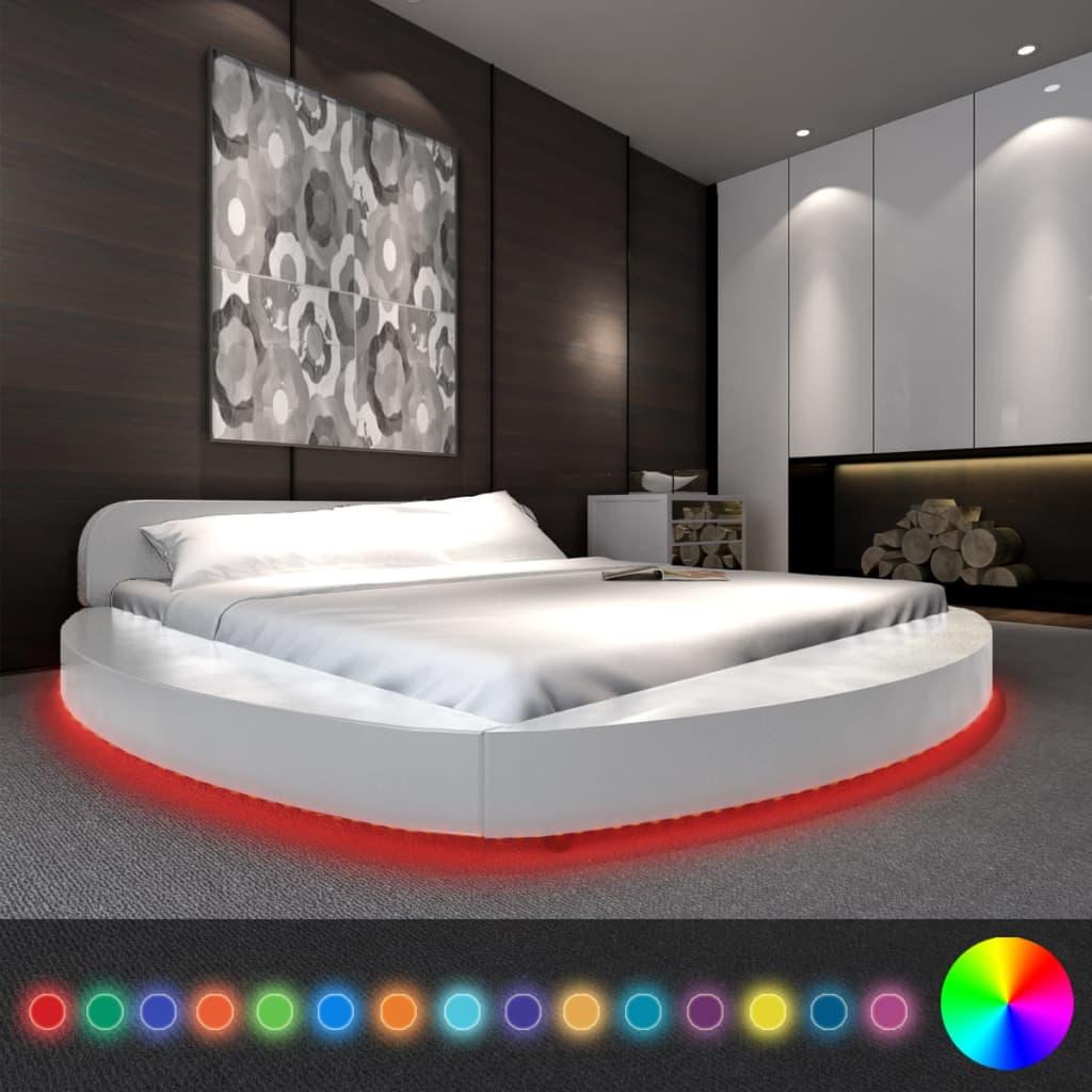 vidaXL Fehér Kerek Mesterséges Bőr Ágy 180x200 cm+LED Szalag+Matrac