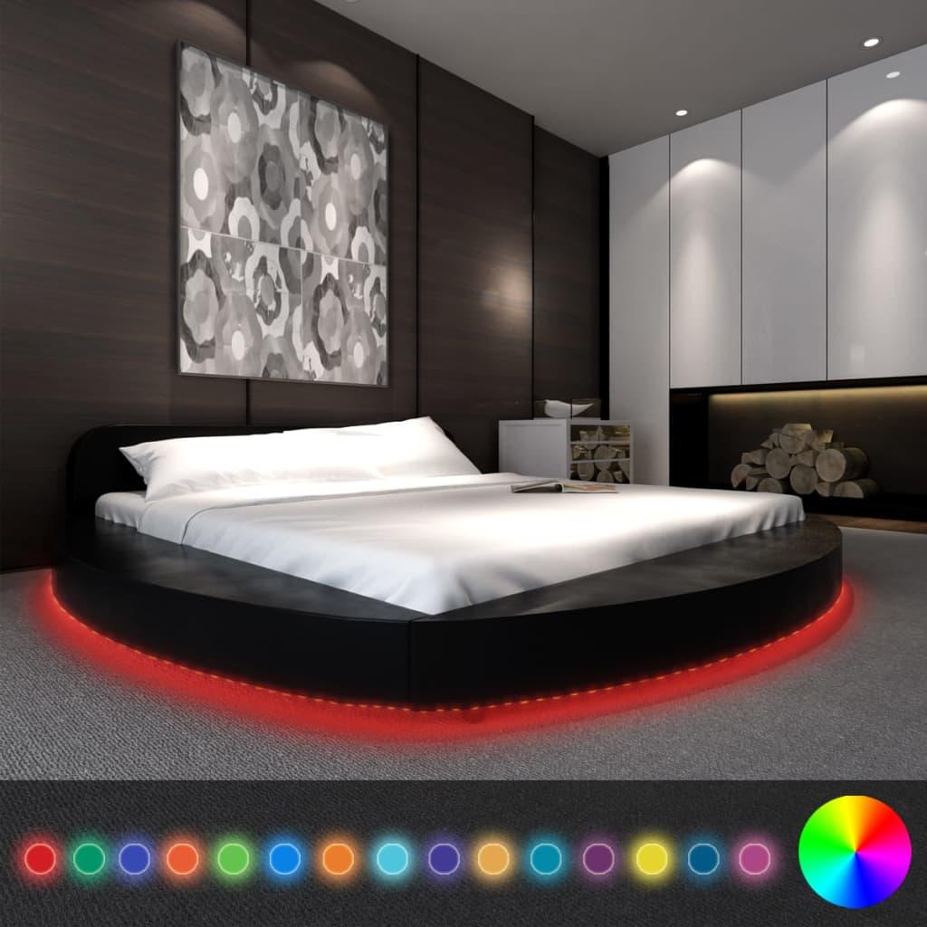 vidaXL Műbőr kerek ágy matraccal és LED csíkkal 180 x 200 cm fekete