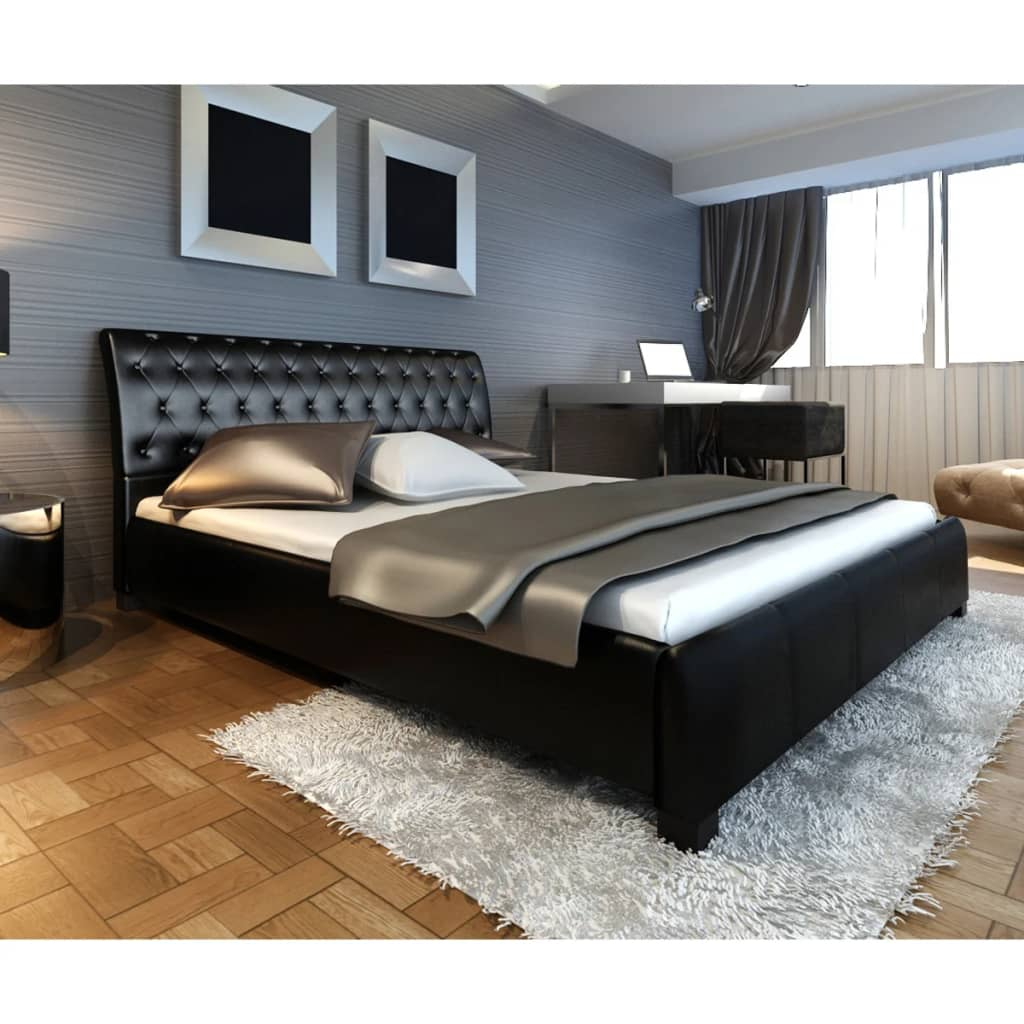 la boutique en ligne lit en similicuir noir 140 cm avec matelas. Black Bedroom Furniture Sets. Home Design Ideas