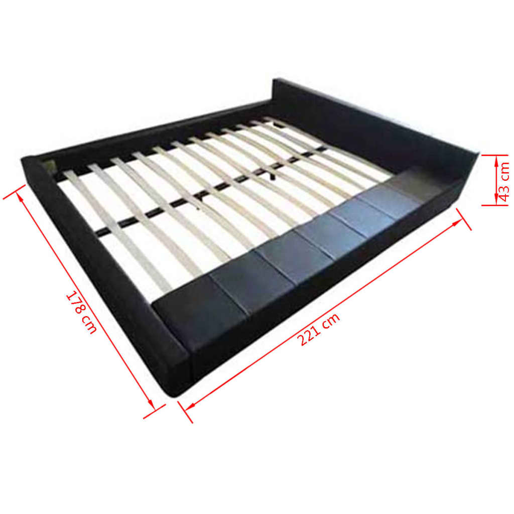 acheter lit en similicuir noir 140 x 200 cm avec matelas pas cher. Black Bedroom Furniture Sets. Home Design Ideas