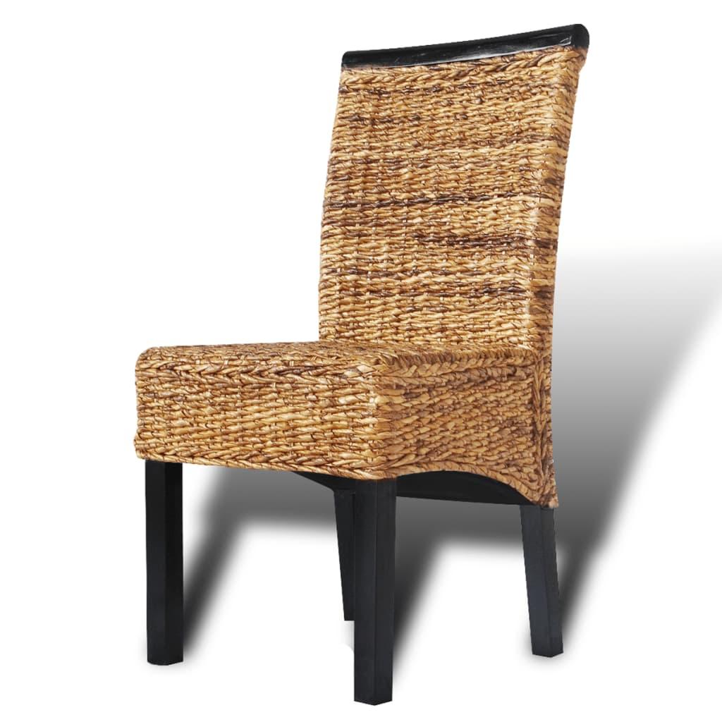 Rattan Dining Chairs: Brown Abaca Handwoven Rattan Dining Chair
