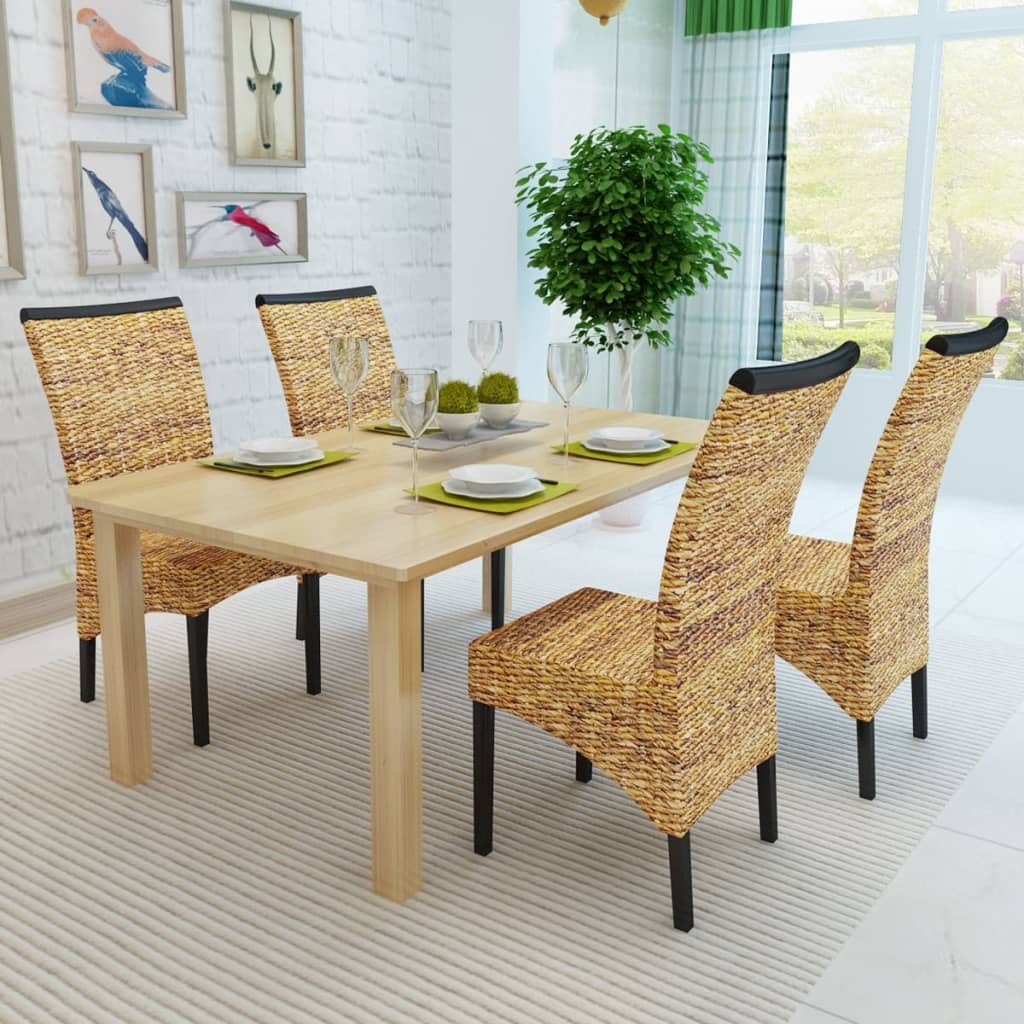 acheter vidaxl set de 4 chaises en rotin abaca brun tiss es la main pas cher. Black Bedroom Furniture Sets. Home Design Ideas