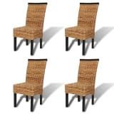 Set de 4 chaises en abaca Brun Tissées à la main