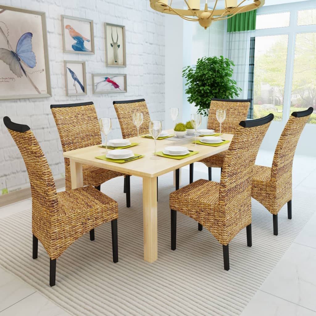 VidaXL.co.uk Brown Abaca Handwoven Rattan Dining Chair Set 6 Pcs. Full resolution‎  snapshot, nominally Width 1024 Height 1024 pixels, snapshot with #73482A.