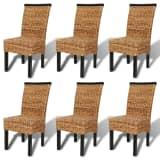 Brown Abaca Handwoven Rattan Dining Chair Set 6 pcs