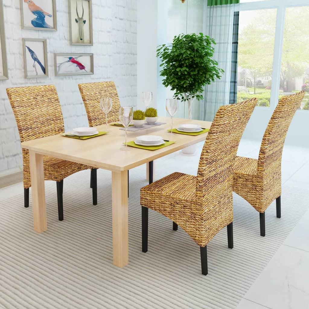 Vidaxl set 4 sedie sala da pranzo in abaca design rattan for Sedie design sala da pranzo