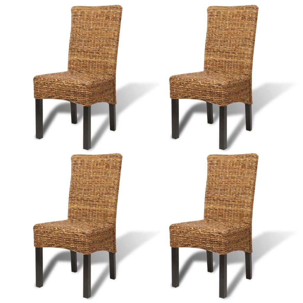 Vidaxl set de 4 chaises en rotin abaca brun faites la - Set de cuisine en rotin ...