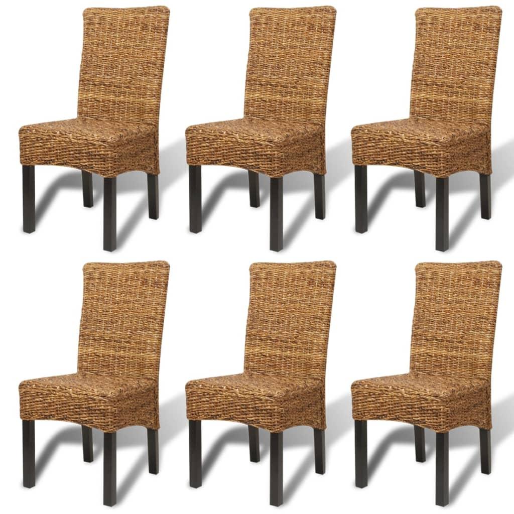 Vidaxl set 6 sedie sala da pranzo in abaca design rattan for Sedie design sala da pranzo