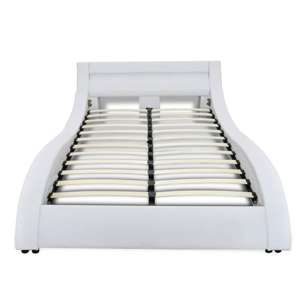 acheter lit en simili cuir vague led bande matelas inclus 180 x 200 cm blanc pas cher. Black Bedroom Furniture Sets. Home Design Ideas