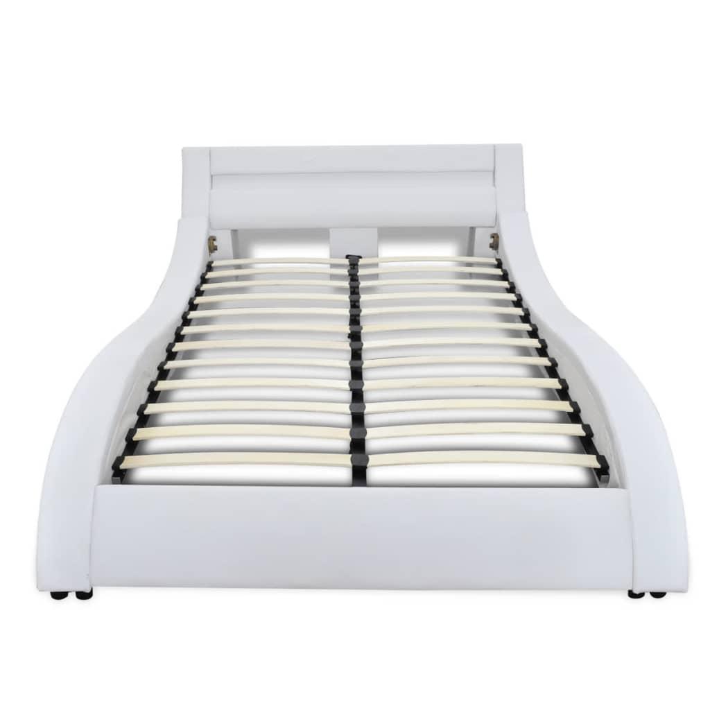 acheter lit en simili cuir vague led bande matelas inclus 140 x 200 cm blanc pas cher. Black Bedroom Furniture Sets. Home Design Ideas