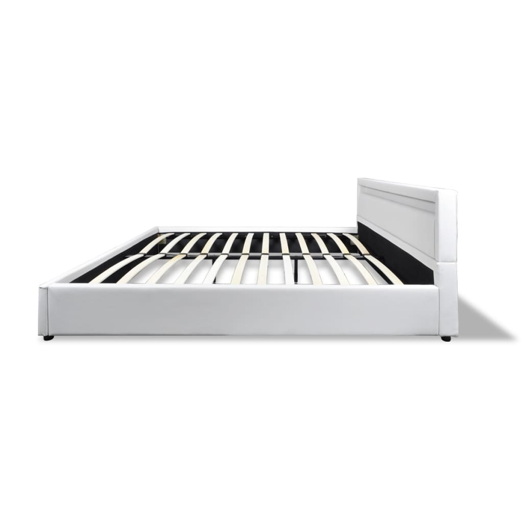 acheter lit en simili cuir avec led bande matelas inclus 180 x 200 cm blanc pas cher. Black Bedroom Furniture Sets. Home Design Ideas