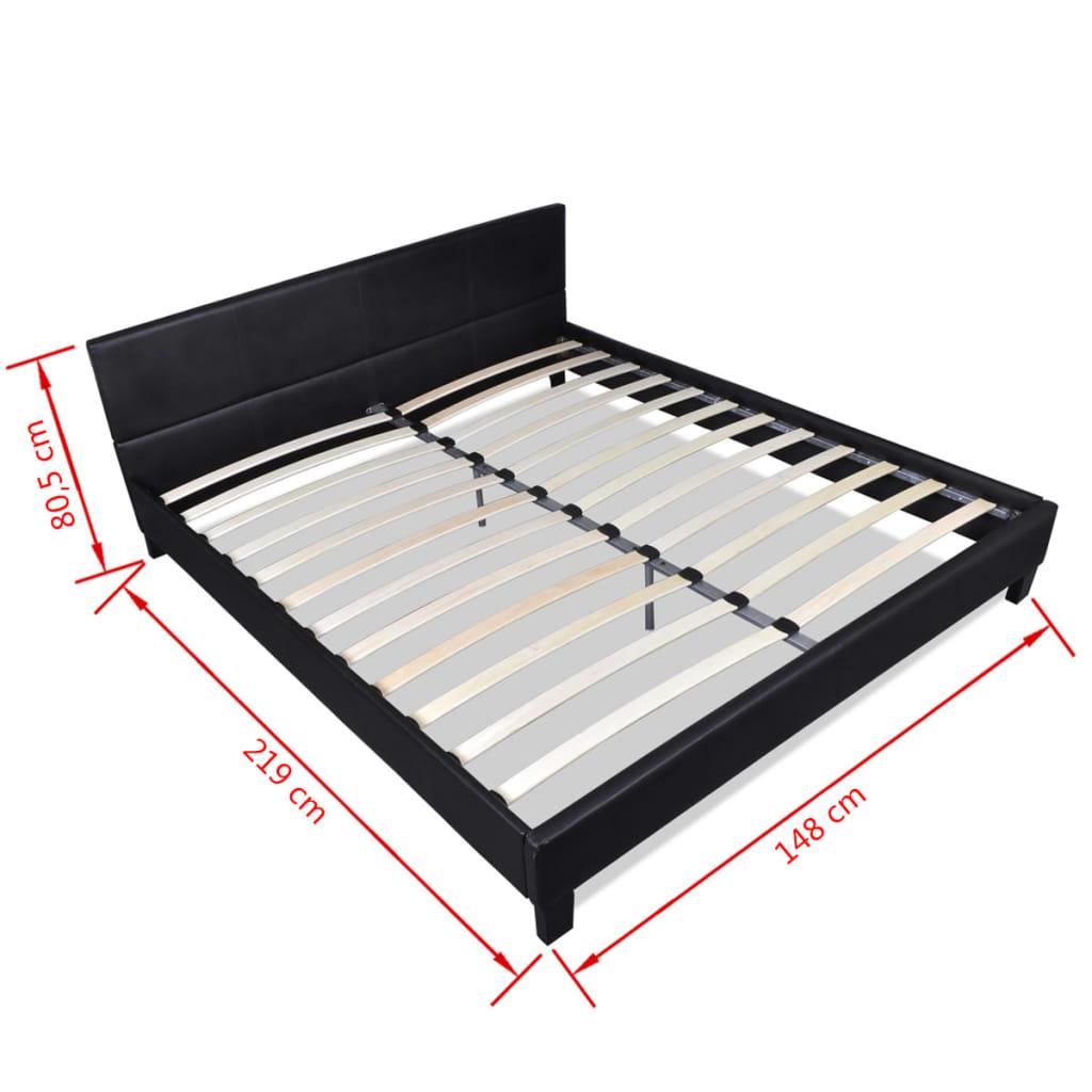 la boutique en ligne lit en similicuir avec matelas 140 x 200 cm noir. Black Bedroom Furniture Sets. Home Design Ideas