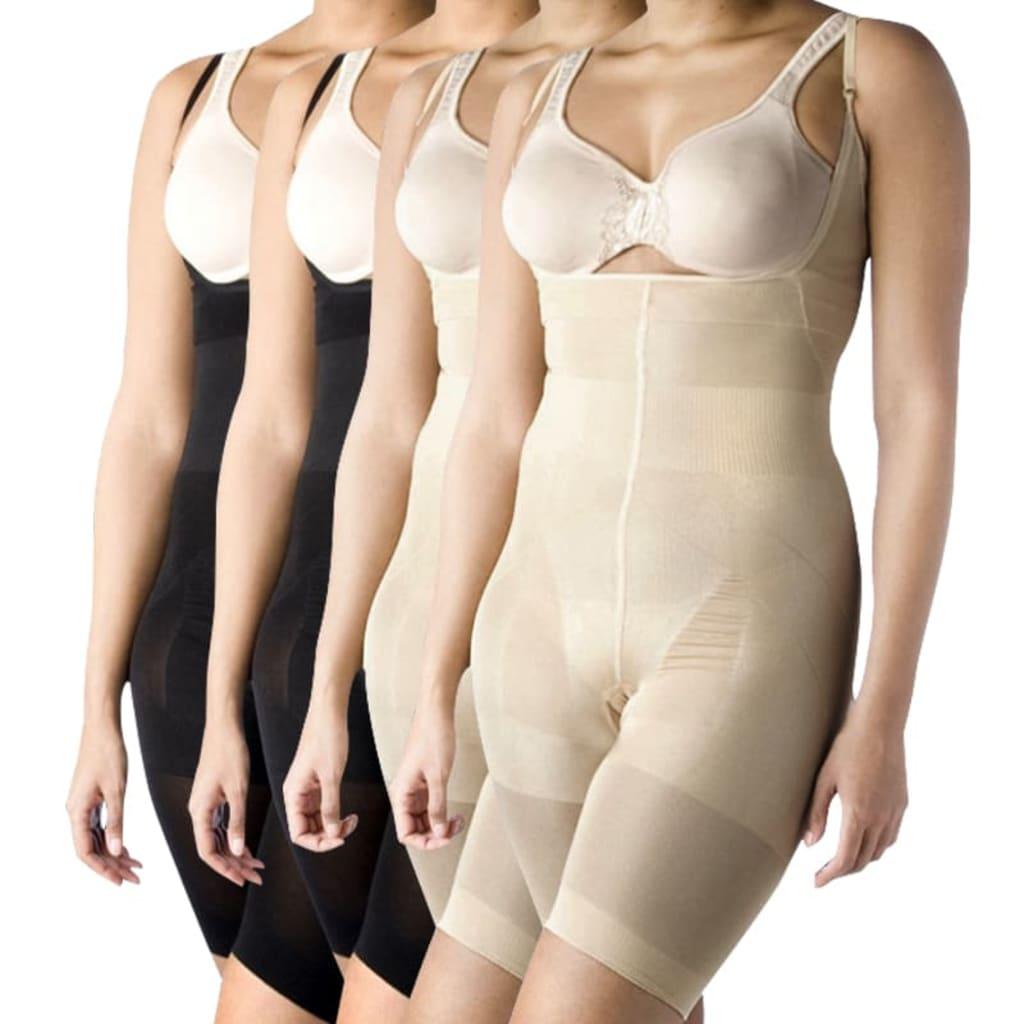 vidaxl-4-pcs-women-s-full-body-shaper-black-beige-size-xl