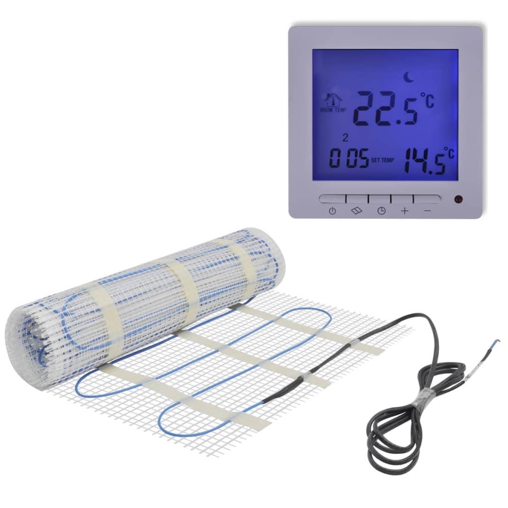 Golvvärmematta 10 m 200 W/m med digital termostat (141298 + 141336)