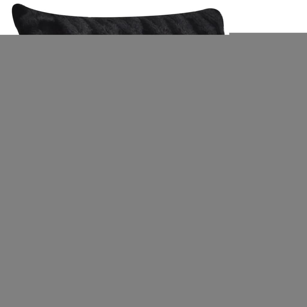 acheter couverture fausse fourrure noir avec 2 pcs coussin pas cher. Black Bedroom Furniture Sets. Home Design Ideas