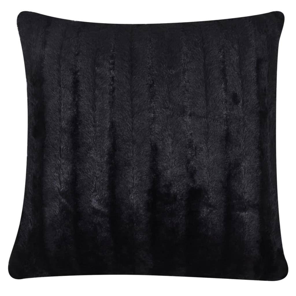acheter couverture fausse fourrure noir avec 2 pcs coussin. Black Bedroom Furniture Sets. Home Design Ideas
