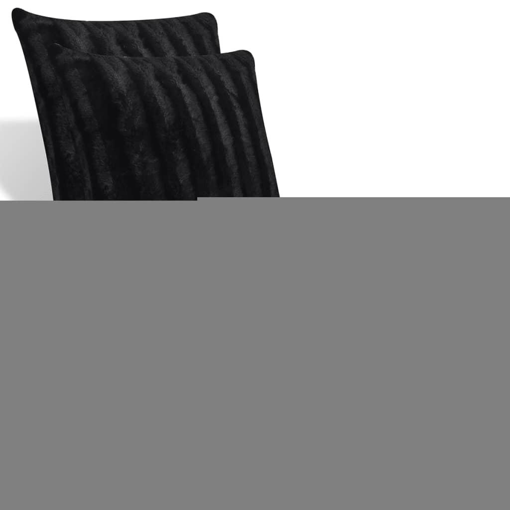 kuscheldecke aus kunstfell mit zwei kissen schwarz g nstig. Black Bedroom Furniture Sets. Home Design Ideas