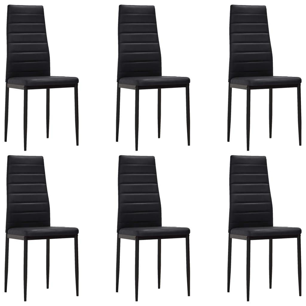 silla de comedor moderna slim line 6 unidades negras