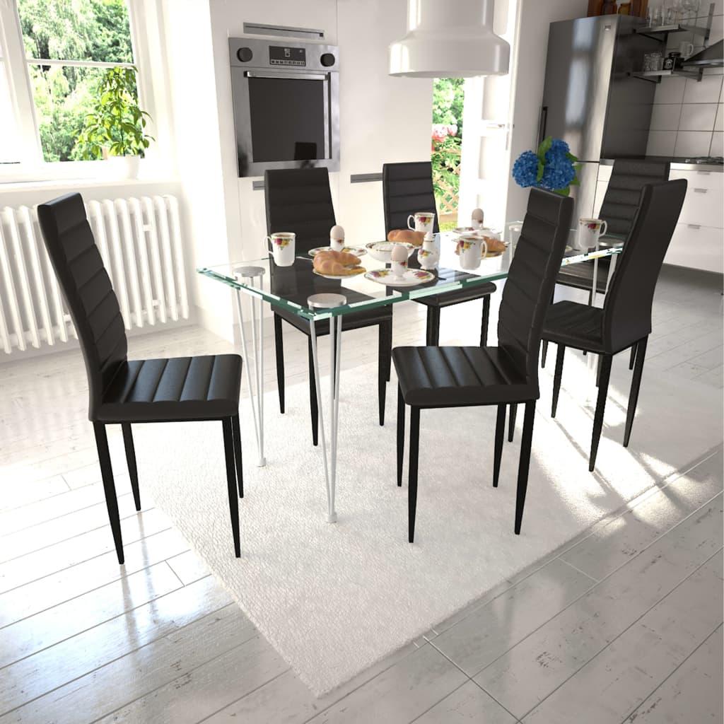vidaXL Esszimmerstühle 6 Stk. Schlankes Design Schwarz