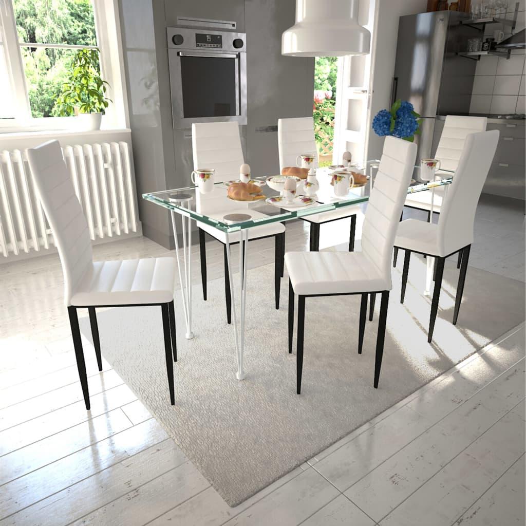 vidaXL Esszimmerstühle 6 Stk. Schlankes Design Weiß