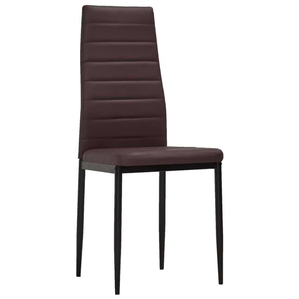 Vidaxl 6x sedie in similpelle marrone linea sottile cucina for Sedie in similpelle