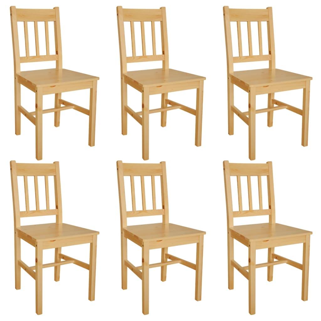 Silla de comedor de madera de pino 6 unidades color for Comedor redondo de madera de 6 sillas