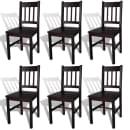 6 Medinės Valgomojo Kėdės, Rudos