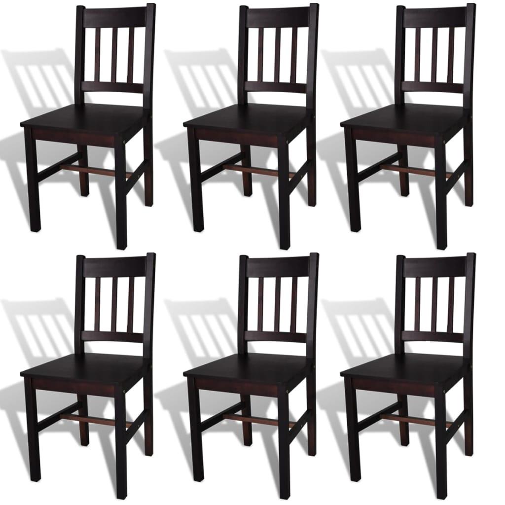 Acheter 6 pcs chaise salle manger en bois brun pas cher for Salle a manger en solde