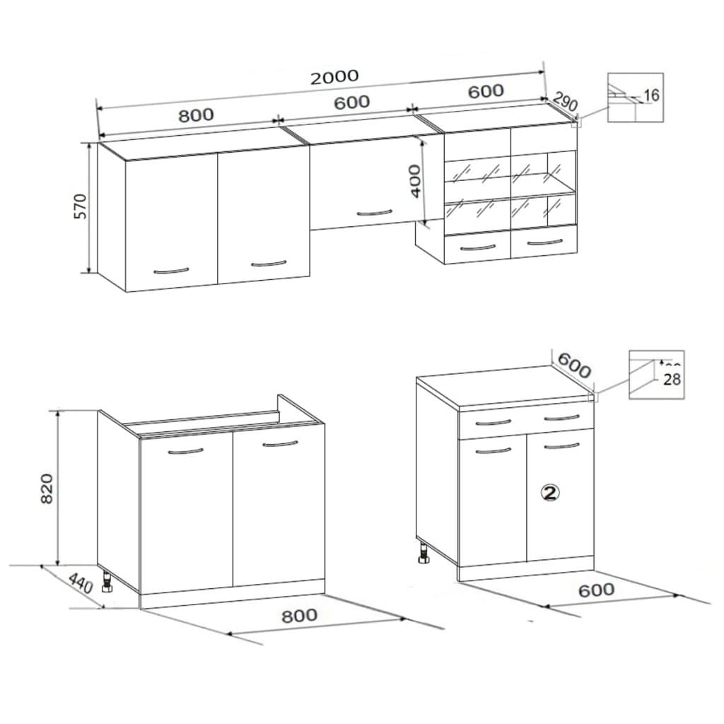 5 tlg k chenzeile eichenoptik mit freistehendem herd. Black Bedroom Furniture Sets. Home Design Ideas