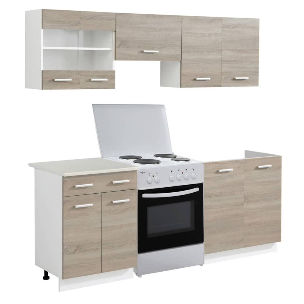 5 tlg k chenzeile eichenoptik mit freistehendem herd g nstig kaufen. Black Bedroom Furniture Sets. Home Design Ideas