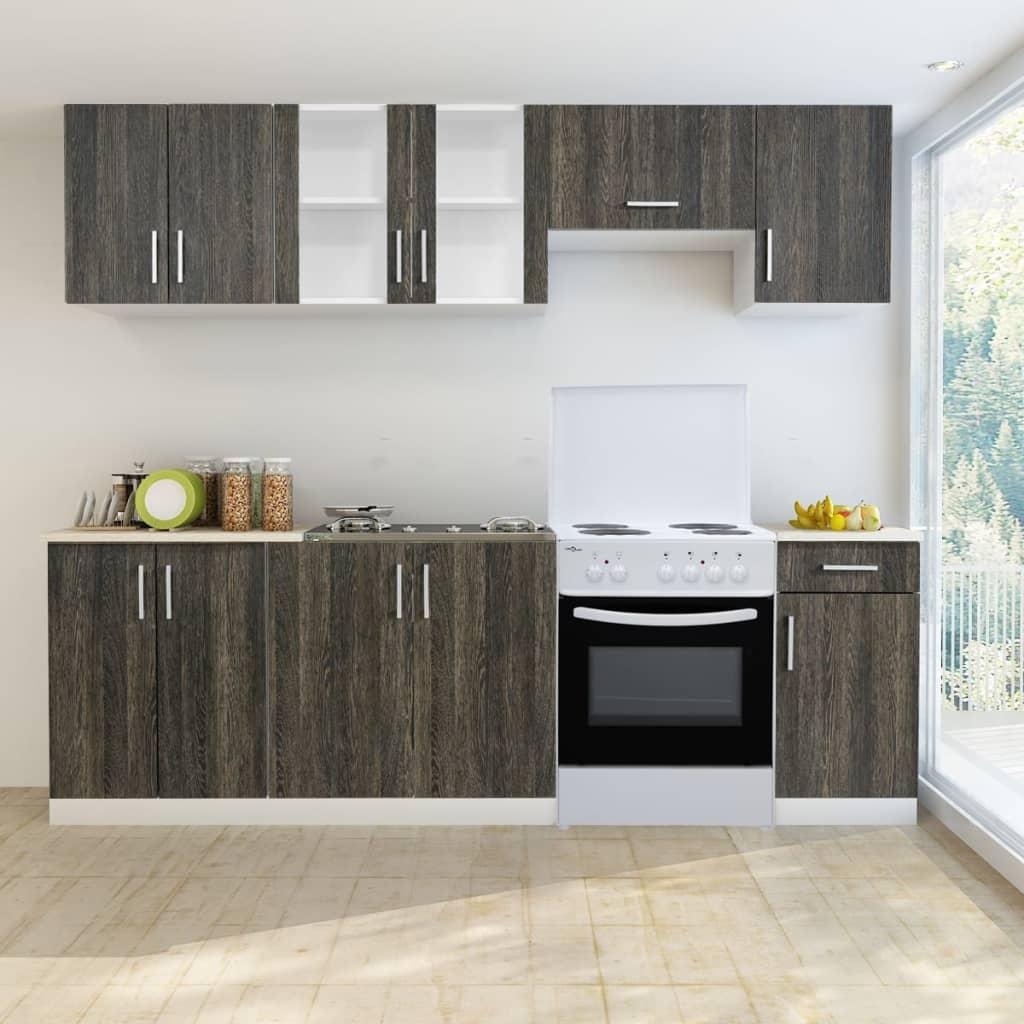 7 st. köksskåp med wenge utseende och fristående ugn (241395 + 50343)