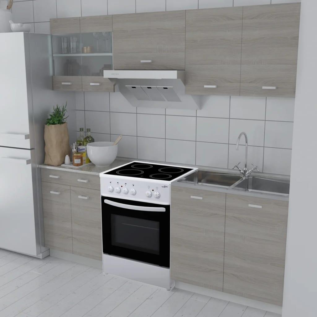 5 st. köksskåp med ek utseende och fristående ugn (241392 + 50346)