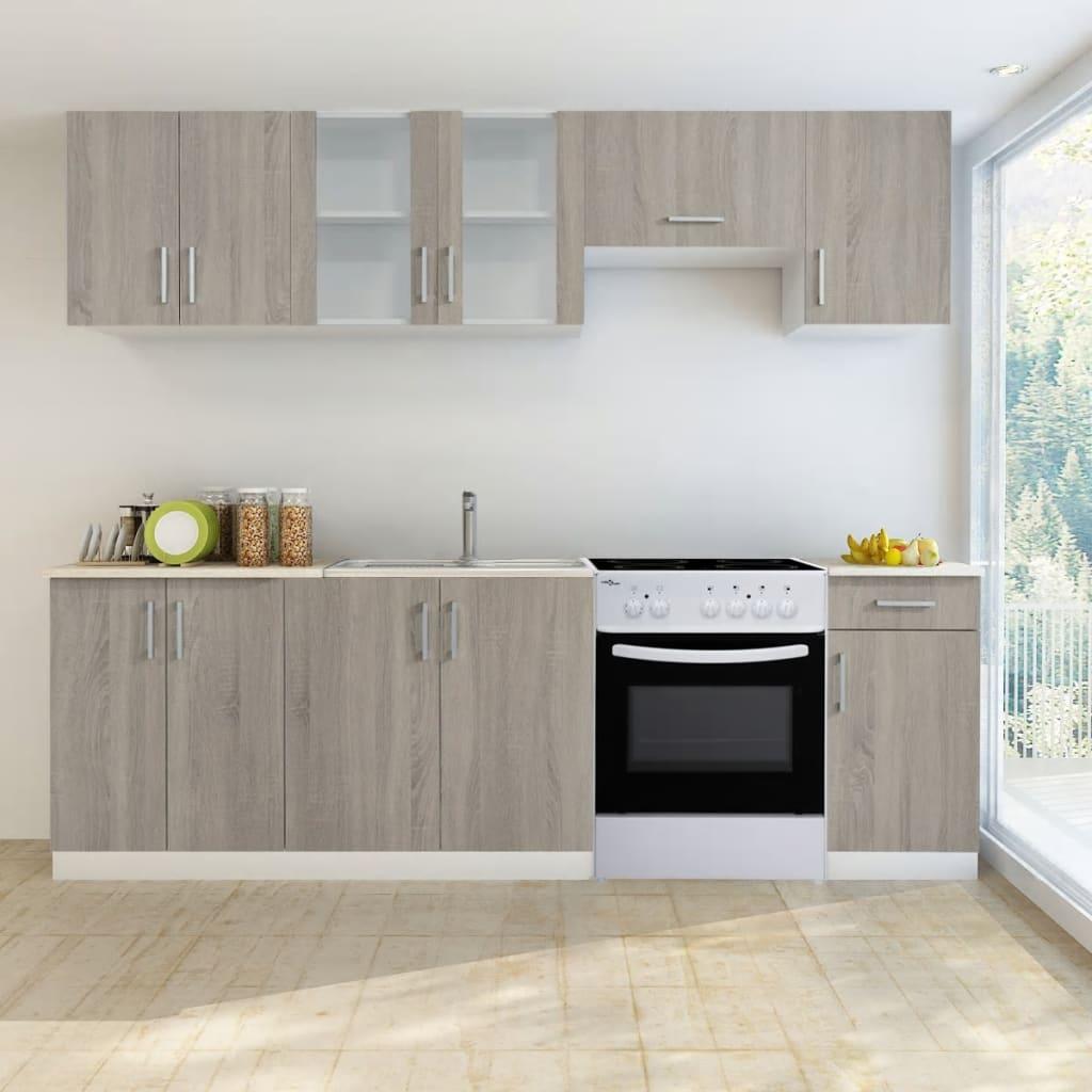 7 st. köksskåp med ek utseende och fristående ugn (241394 + 50346)