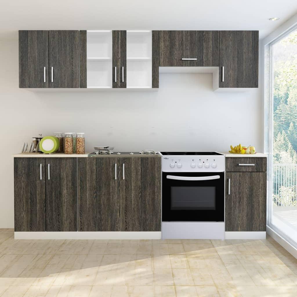7 st. köksskåp med wenge utseende och fristående ugn (241395 + 50346)