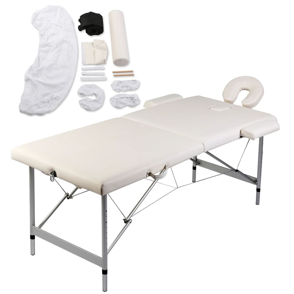 la boutique en ligne table de massage pliante 2 zones cr me aluminium set d 39 accessoires. Black Bedroom Furniture Sets. Home Design Ideas