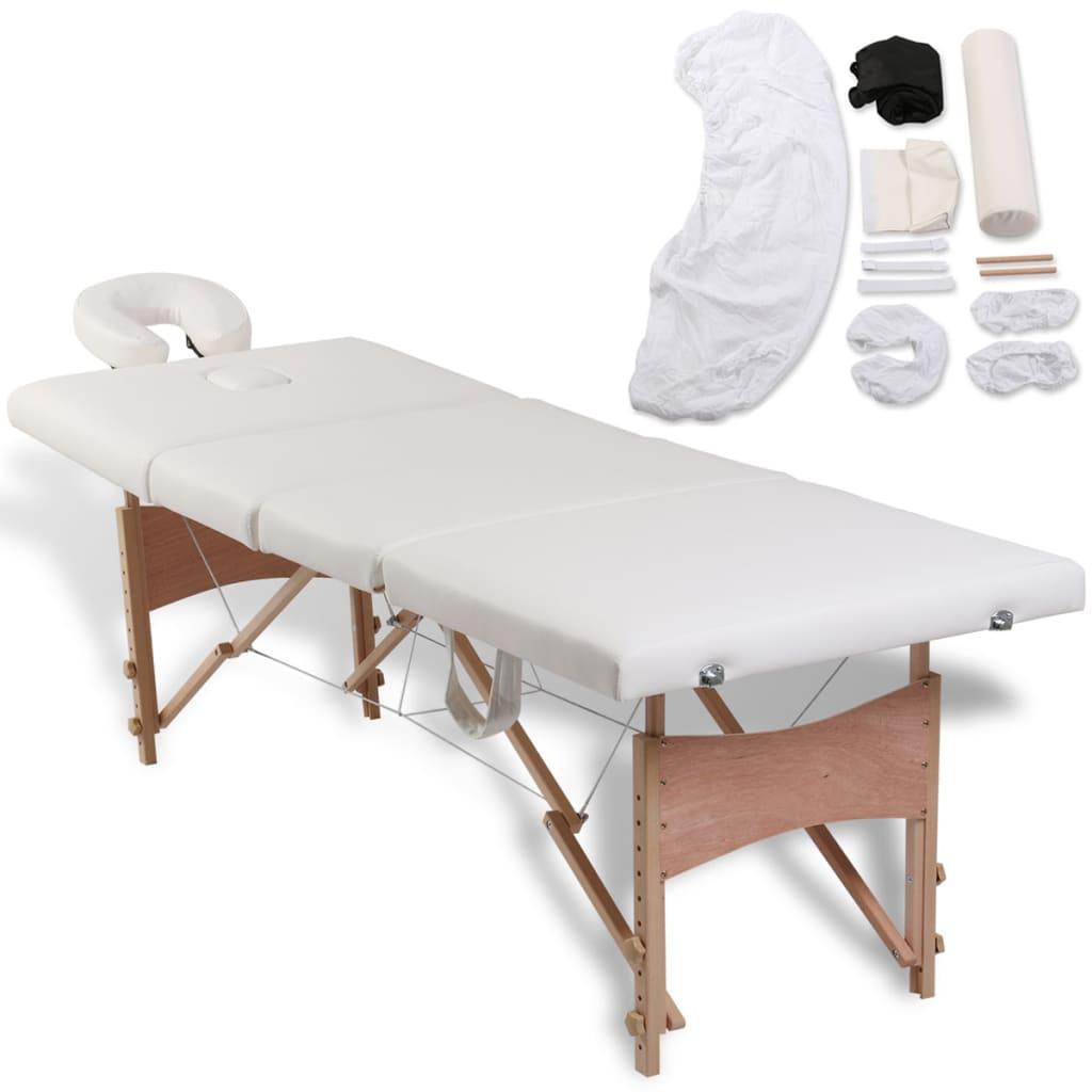 Mesa plegable de masajes de 4 cuerpos y accesorios madera for Mesa blanca y madera