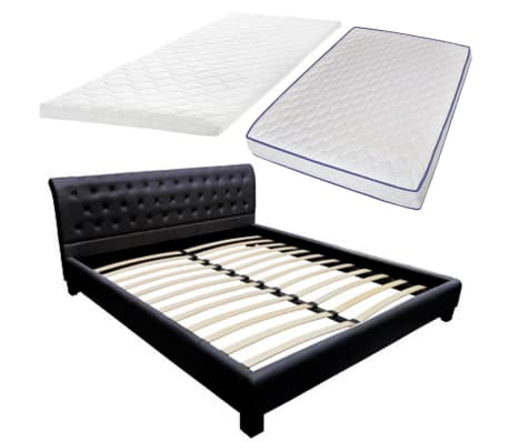 lit en simili cuir noir matelas en mousse visco lastique surmatelas. Black Bedroom Furniture Sets. Home Design Ideas