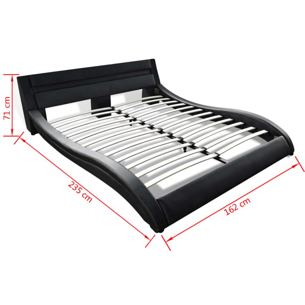kunstlederbett mit led streifen matratze obermatratze. Black Bedroom Furniture Sets. Home Design Ideas