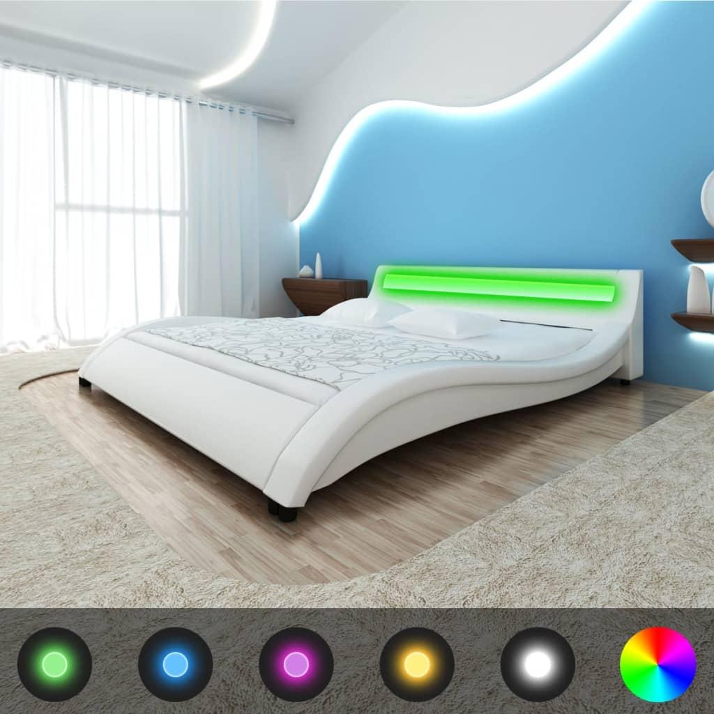 Vit vågsäng konstgjort läder LED-ljus+minnesskum madrass+bäddmadrass