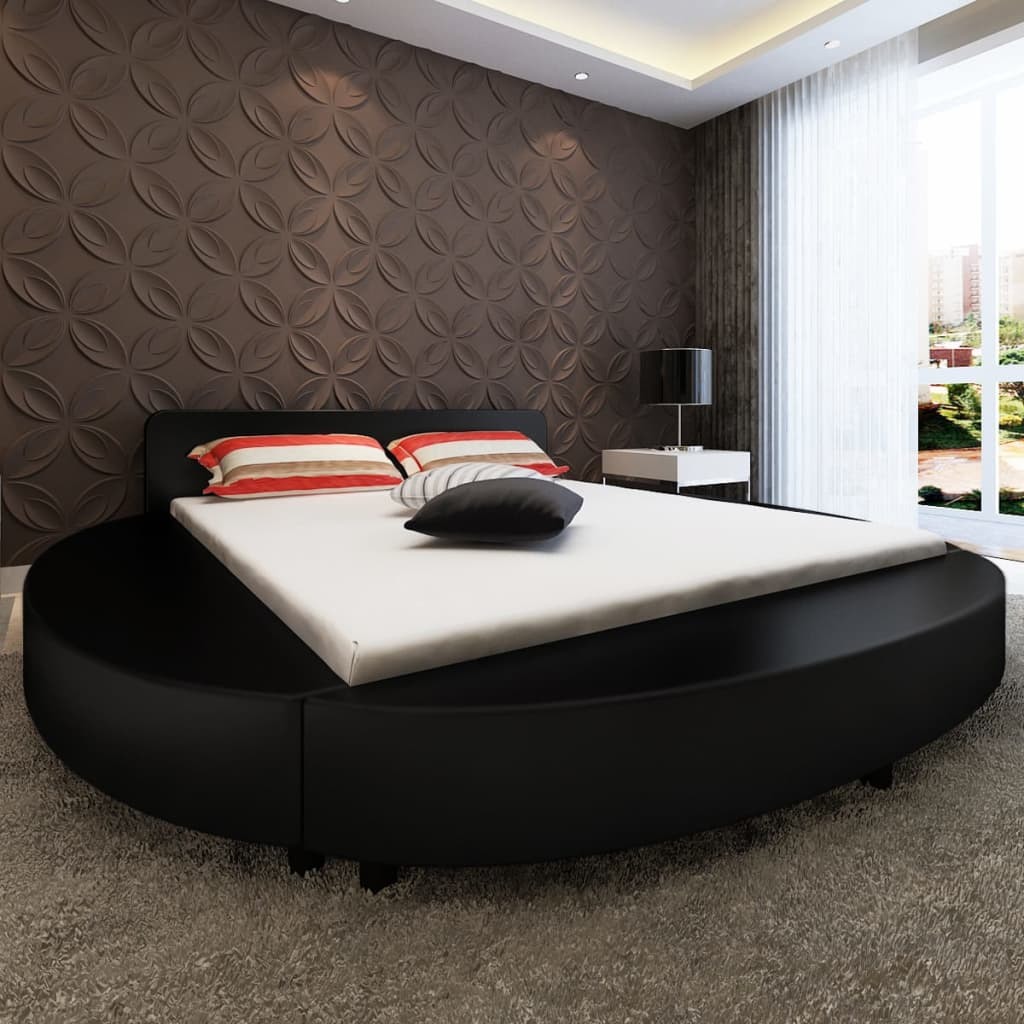 Rund säng i svart konstläder 180 cm inkl. skum- och bäddmadrass