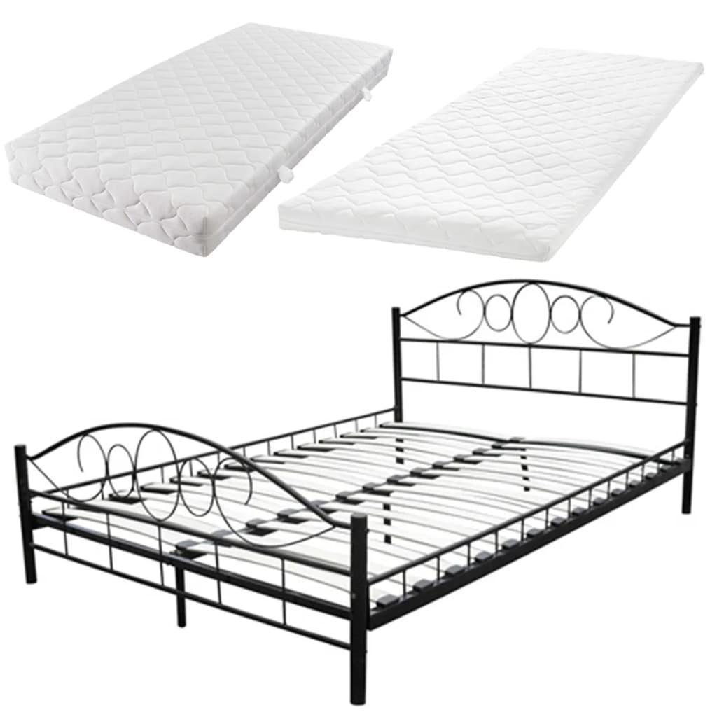 metallbett schwarz matratze obermatratze 140 x 200 cm g nstig kaufen. Black Bedroom Furniture Sets. Home Design Ideas