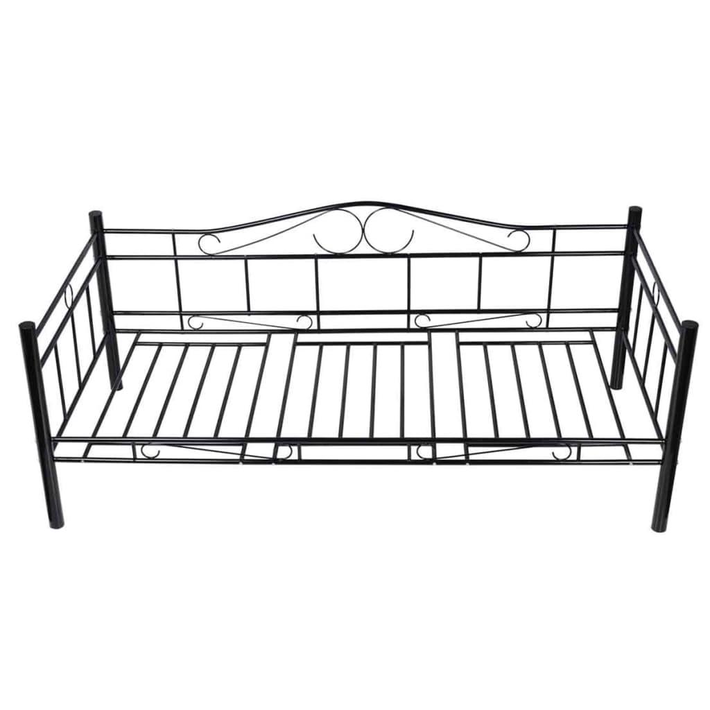 acheter banquette lit en m tal noir 90 cm avec matelas et surmatelas m moire pas cher. Black Bedroom Furniture Sets. Home Design Ideas