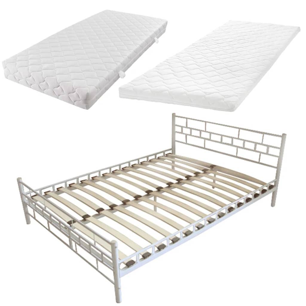 acheter lit blanc en m tal 140 cm matelas surmatelas m moire de forme pas cher. Black Bedroom Furniture Sets. Home Design Ideas