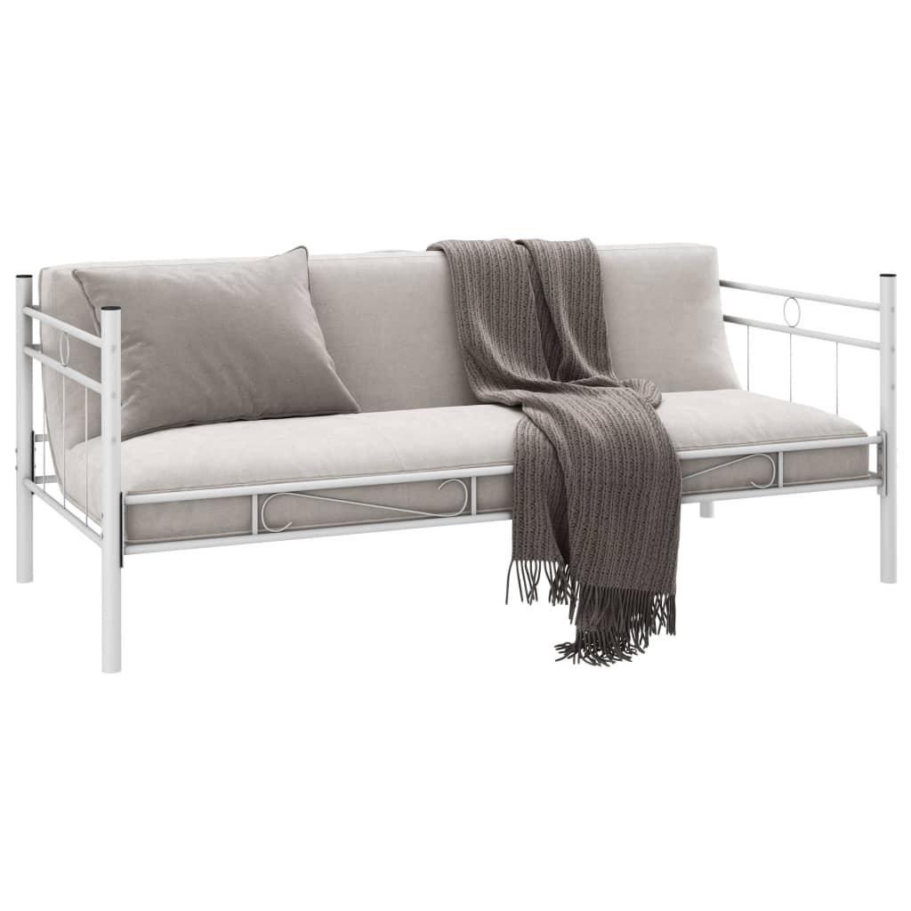 acheter banquette lit m tal blanc 90 cm avec matelas et surmatelas m moire pas cher. Black Bedroom Furniture Sets. Home Design Ideas