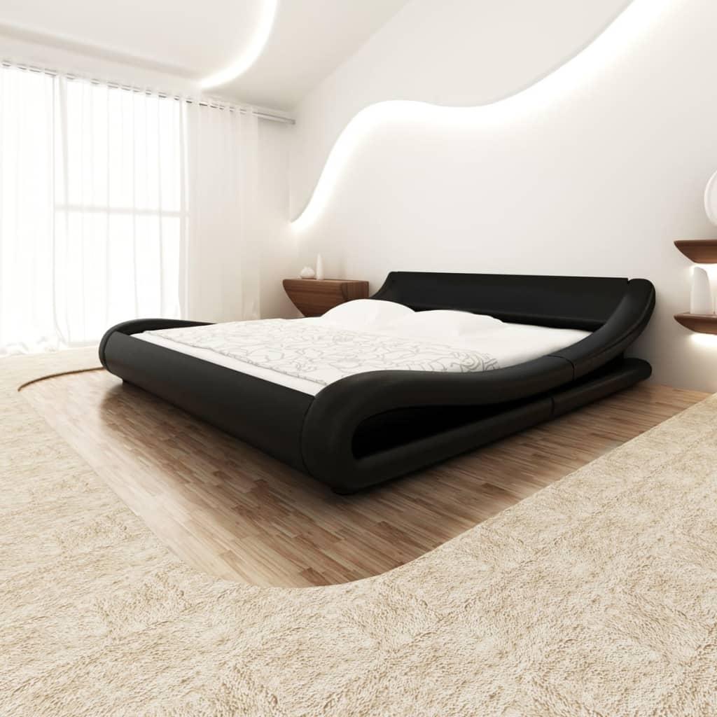 Rundad säng i svart konstläder 140 cm inkl. skum- och bäddmadrass