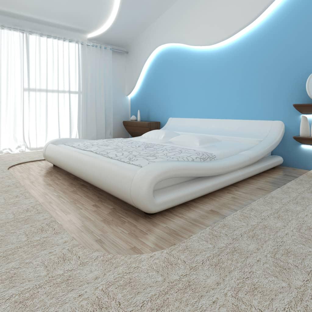 Rundad säng i vitt konstläder 140 cm inkl. skum- och bäddmadrass
