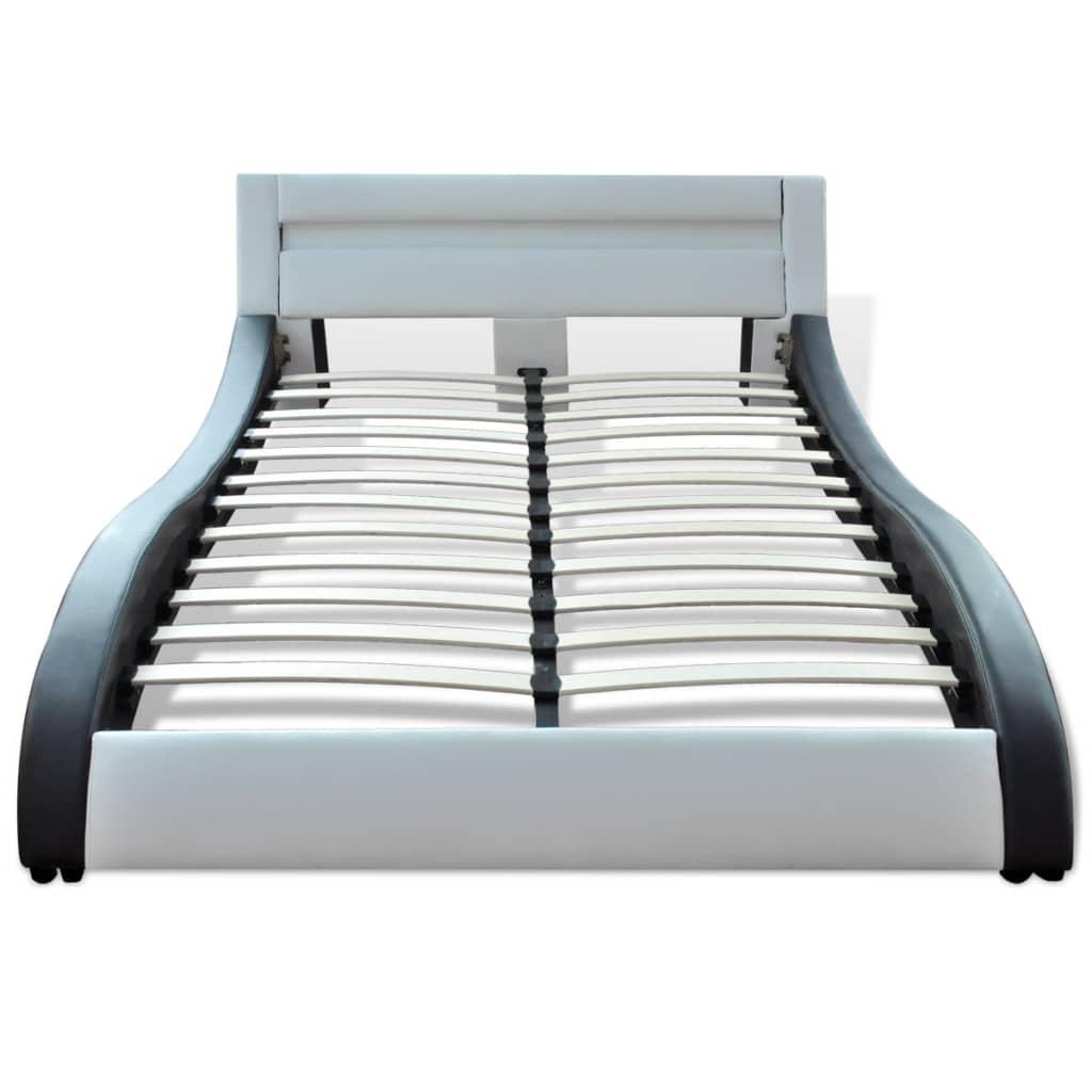 Kunstleren bed 140 cm matras traagschuim topmatras zwart wit online kopen - Bed cm ...