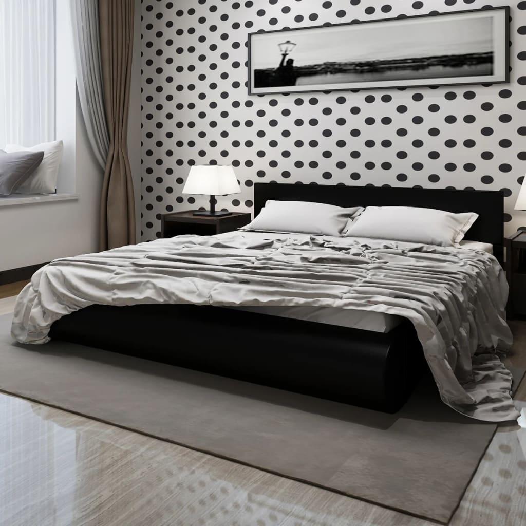 acheter lit plateforme noir en faux cuir matelas surmatelas m moire 140cm pas cher. Black Bedroom Furniture Sets. Home Design Ideas