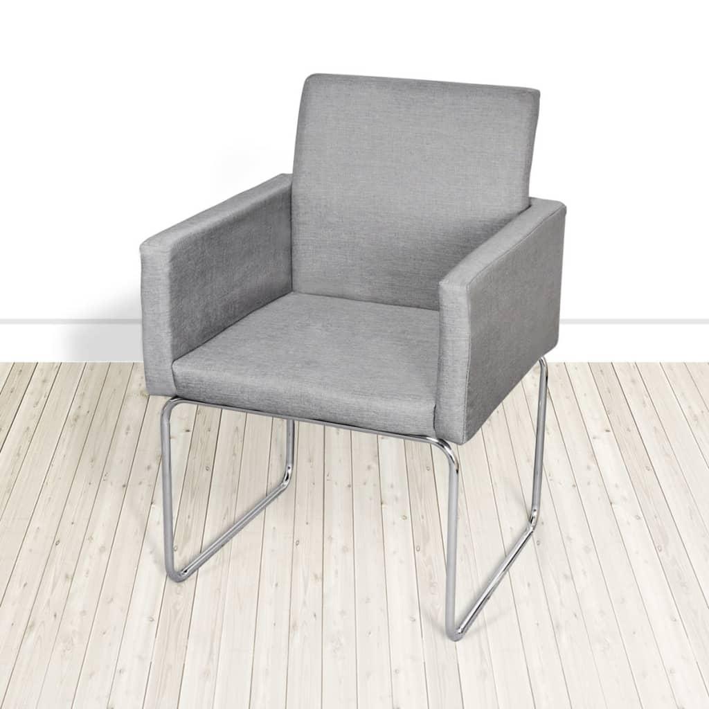 Vidaxl 4 x sillas cocina comedor sala bar oficina muebles patas acero gris claro ebay - Vidaxl sillas ...