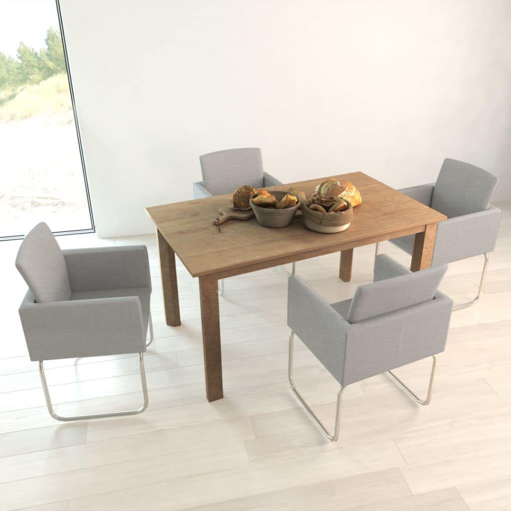 Vidaxl 4 pz sedie per sala da pranzo con braccioli grigio for Sala da pranzo offerta